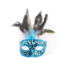 Маска домино с пера - синя Парти маски и перуки