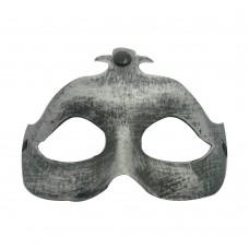 Маска домино мат - сребриста Парти маски и перуки