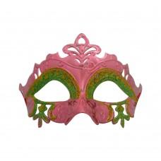 Маска домино с брокат - ажурна розова Парти маски и перуки