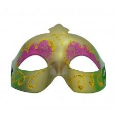 Маска домино с брокат - розово зелена Парти маски и перуки