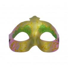 Маска домино с брокат - зелено розова Парти маски и перуки