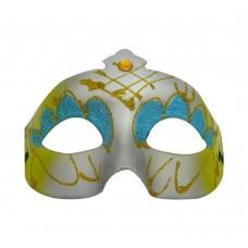 Маска домино с брокат - зелена Парти маски и перуки