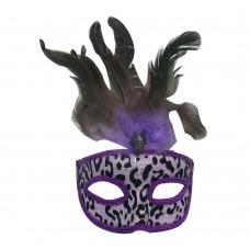Маска домино с пера - лилава Парти маски и перуки