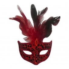 Маска домино с пера - червена Парти маски и перуки
